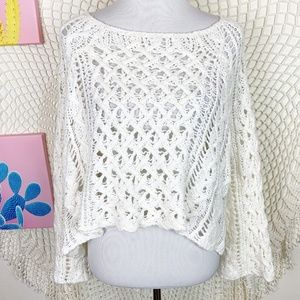 Free People Crochet White bell sleeve sweater